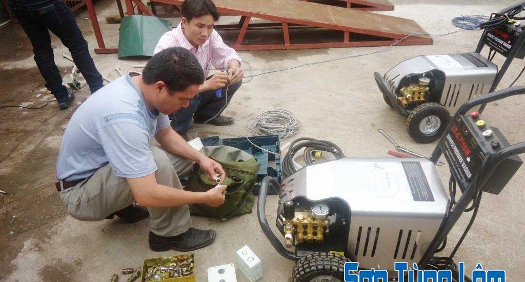 lắp đặt máy rửa xe ô tô
