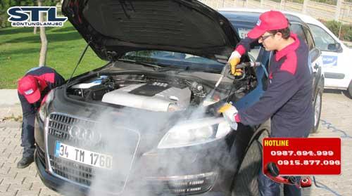 may rua xe bang hoi nuoc nong dmf chay diesel