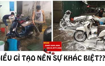 su khac biet giua tiem rua xe co va khong dung binh bot tuyet