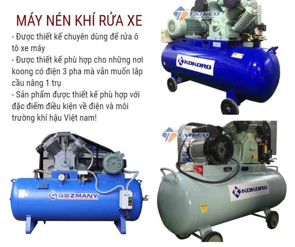 Các loại máy nén khí cho tiệm rửa ô tô xe máy