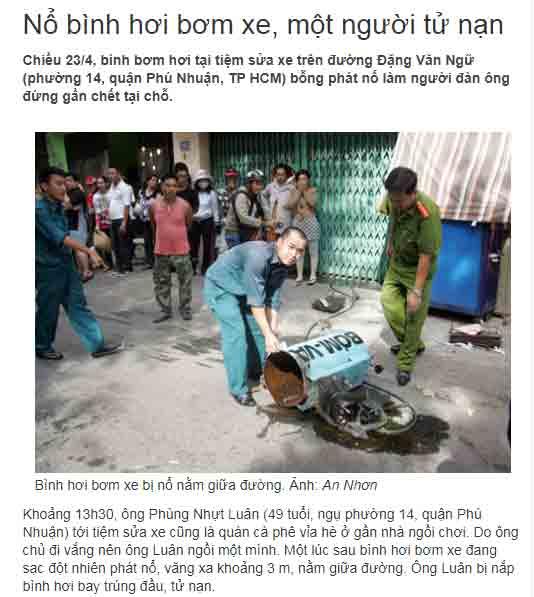 Vụ nổ bình hơi ở Phú Nhuận - HCM