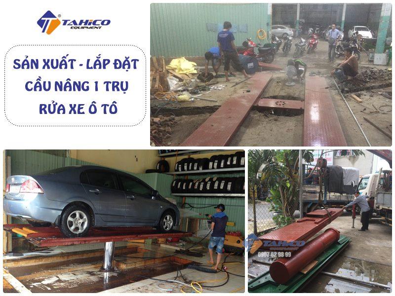 Công ty TAHICO chuyên sản xuất, nhập khẩu, lắp đặt cầu nâng 1 trụ rửa xe ô tô giá rẻ toàn quốc